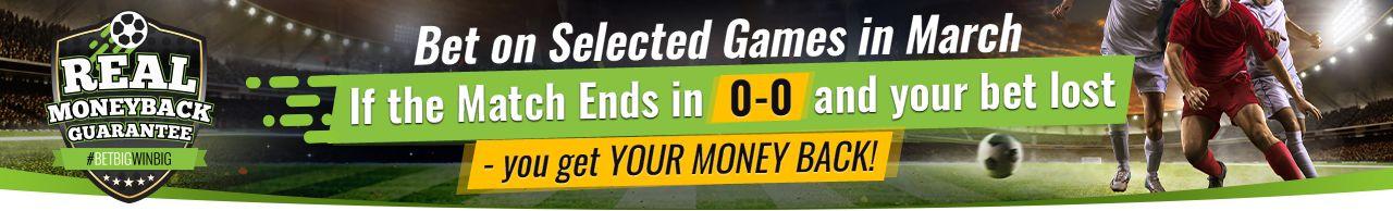 , Sportsbet te devuelve tu apuesta si el partido queda 0-0 y pierdes tu apuesta